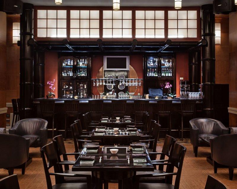 An view of the bar area inside Kimonos restaurant at the Walt Disney World Swan Resort