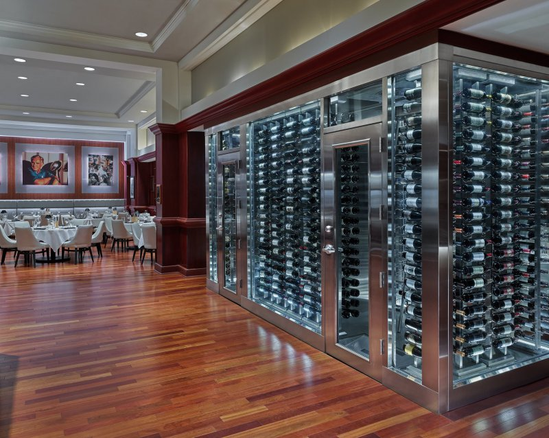 The large wine cellar showcase at Shula's Steak House at the Walt Disney World Dolphin Resort