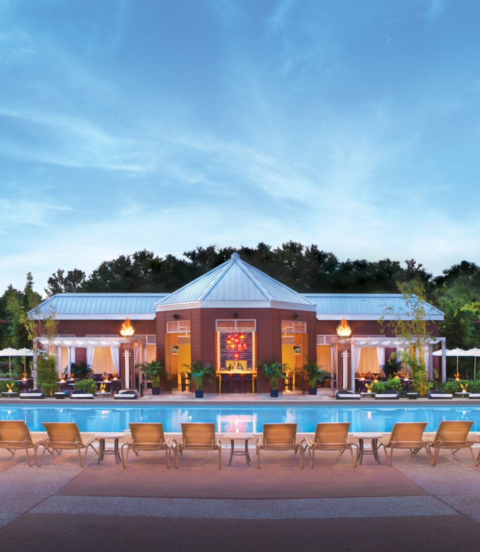 Evening shot of the Cabana Bar & Beach Grill restaurant.
