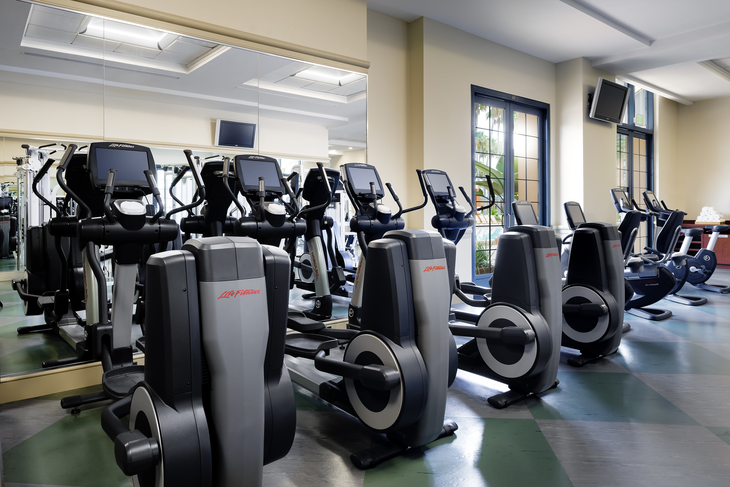 Exercise machines in the Swan health club.